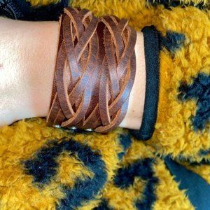 Country Braided Leather Wrap Bracelet Boho Cuff
